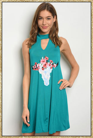 'Lost' Sleeveless Jade Floral Bull Jersey Tunic Dress