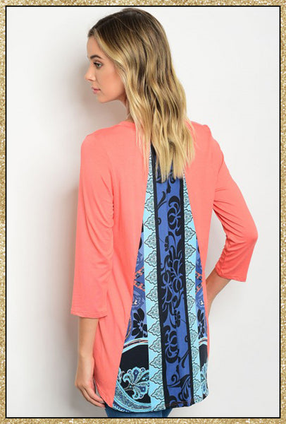 'Coastal' Coral Blue Print 3/4 Sleeve Tunic Top