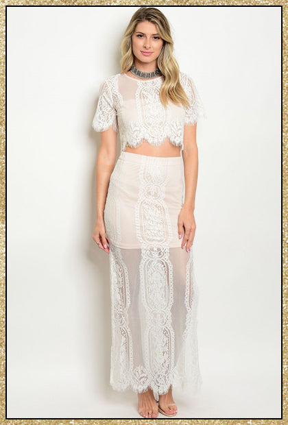 Blush and ivory lace crop top and long skirt set