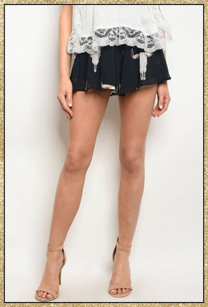 'Western Horizon' Navy Bull Head Shorts