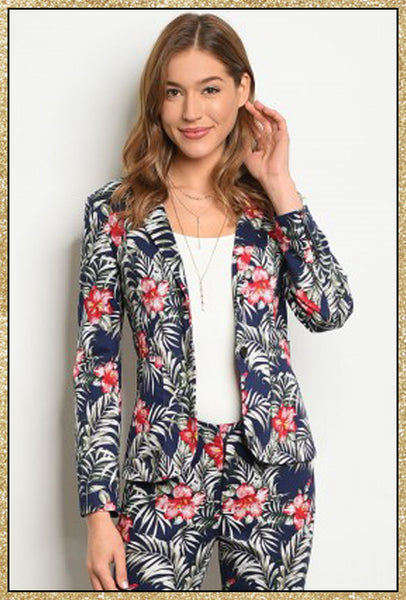 'Ibiza' Navy Tropical Floral Blazer Jacket