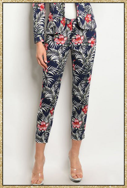 'Ibiza' Navy Tropical Floral Trouser Pants