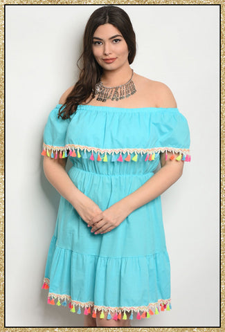 'Island Vibes' Aqua Off Shoulder Tassel Dress (CURVY)