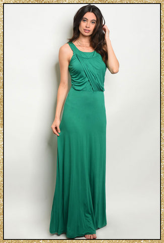 'Have It All' Green Drape Front Jersey Dress