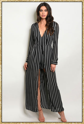 'Closing In' Black Ivory Striped Maxi Romper