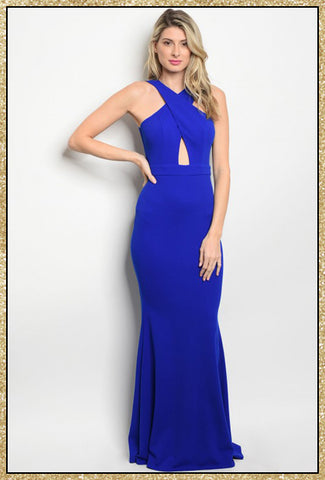 Royal blue floor length fitted gown with a boat neckline and zip in the back.