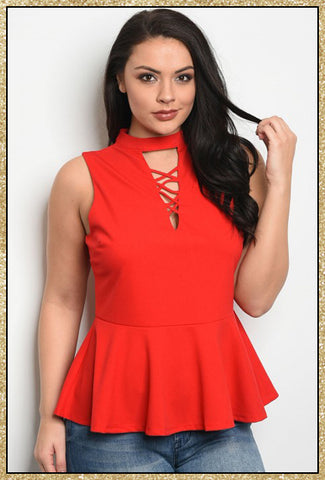 Red plus size peplum top with a criss-cross design neckline and buttons at the back of the neck.