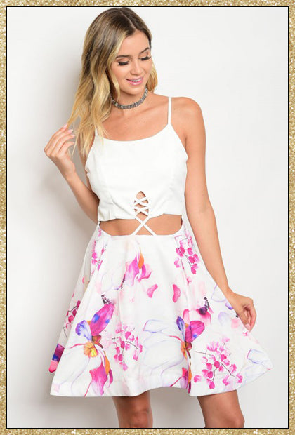 'Let Love Shine' Off White Magenta Floral Dress