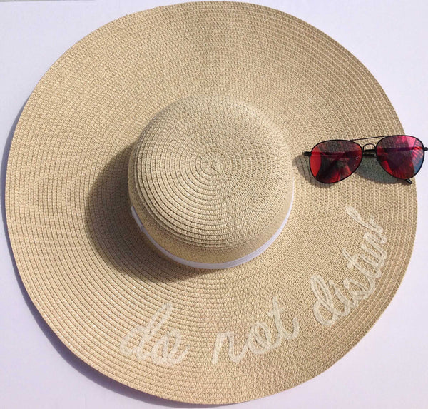 'Do Not Disturb' Embroidered Floppy Sun Hat-Beige/Ivory