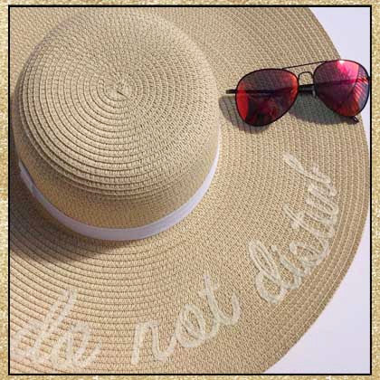 """Do Not Disturb"" beige and ivory embroidered floppy sun hat"