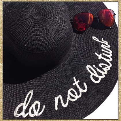 """Do Not Disturb"" black and ivory embroidered floppy sun hat"