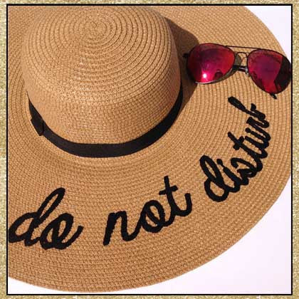 """Do Not Disturb"" camel and black embroidered floppy sun hat"