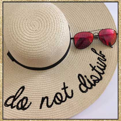 """Do Not Disturb"" beige and black embroidered floppy sun hat"