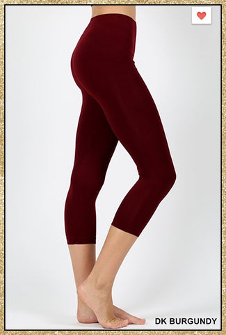 Dark burgundy capri leggings.