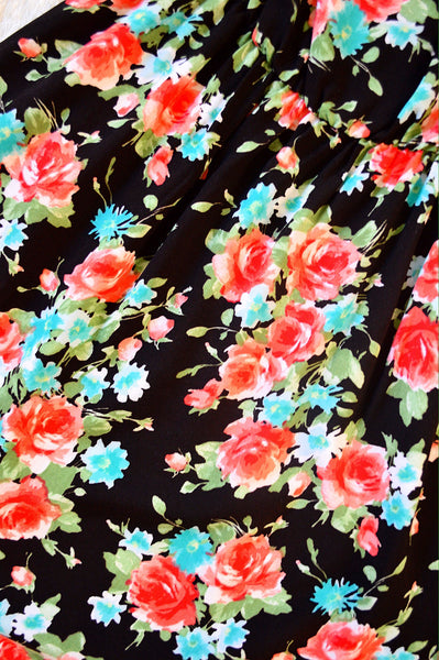 'Floral Beauty' Dress: Black/Turqouise
