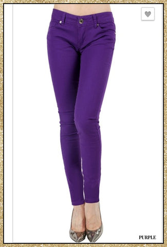 Purple straight legged pants with front and back pockets.