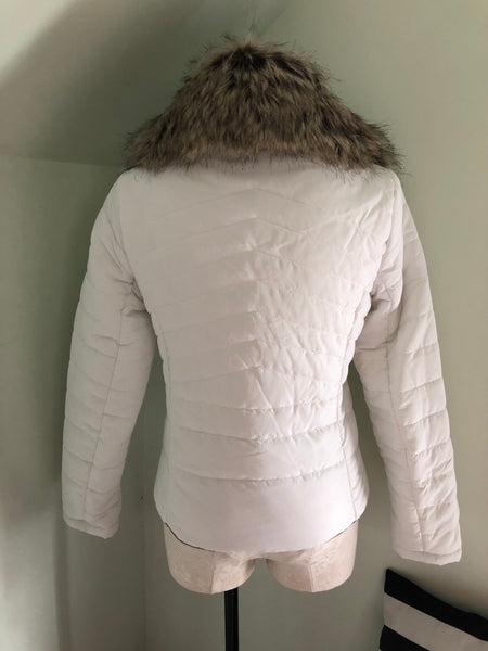'Before You Go' Off White Faux fur Collared Quilted Jacket