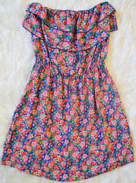 'Floral Beauty' Dress: Blue/Pink