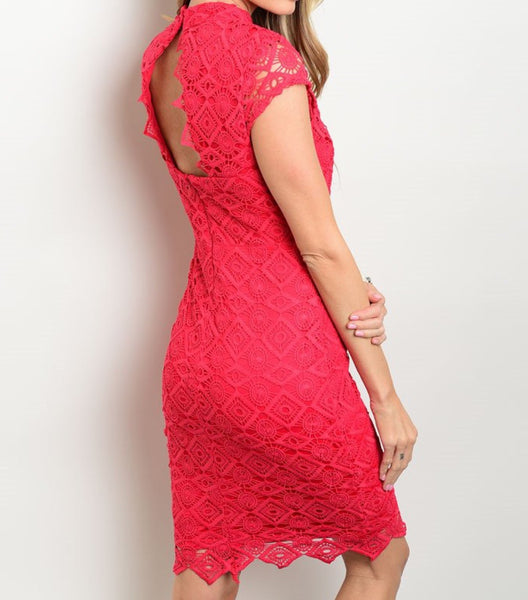 'Can't Look Away' Raspberry Lace Dress