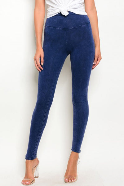 'Get Lost' Navy Blue Washed Leggings