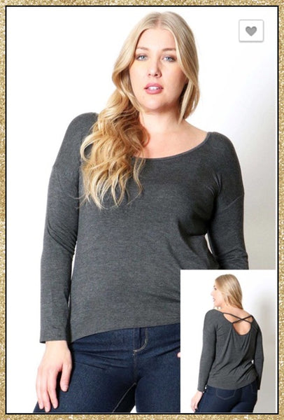 Charcoal grey long sleeve curvy size top with criss-cross upper back detail.