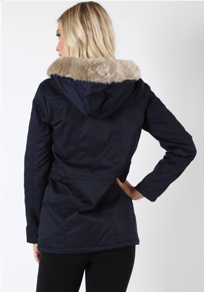 'Be There' Water Resistant Long Sleeve Navy Blue Faux Fur Hooded Jacket
