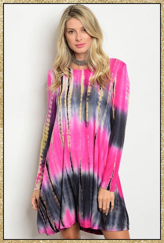 'Mystic' Magenta Mix Tie Dye Long Sleeve Tunic Dress