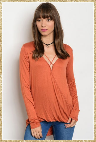 'All Things New' Rust Long Sleeve Top