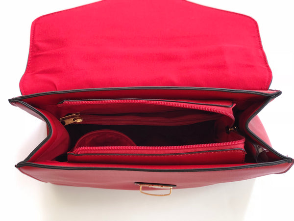 'Impulse' Red With Gold Accent Handbag Purse