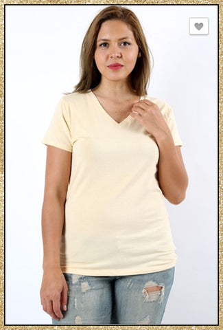 'Would You Ever' Heather Beige Short Sleeve V Neck Top (CURVY)
