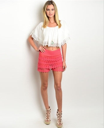 'Shake It For Me' Coral Crochet Shorts