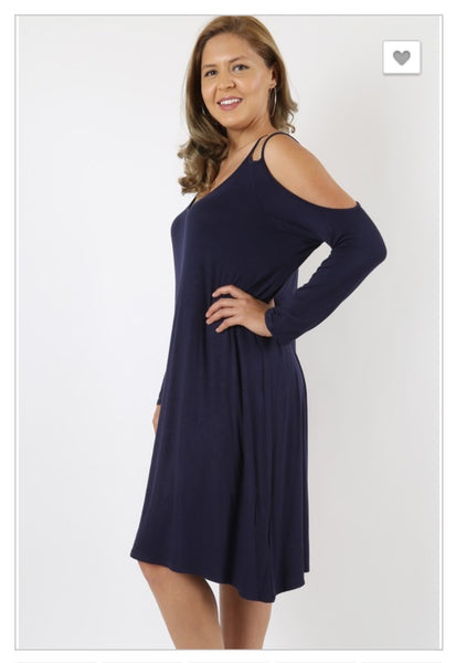 'Give It Time' Navy Blue Cold Shoulder Long Sleeve Dress (CURVY)
