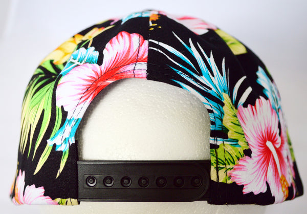 'Tropical Paradise' SnapBack Hat: Black