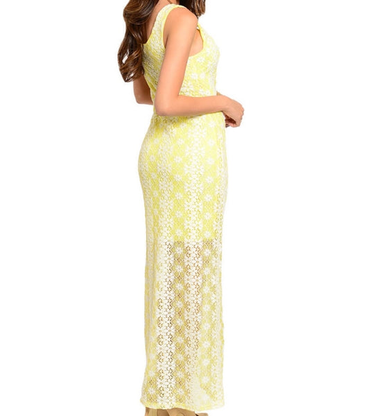 'Sunshine & Daisies' Yellow/White Lace Dress