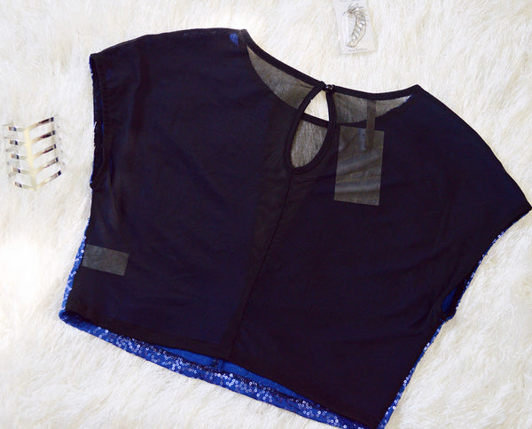 'Let's Celebrate' Royal Blue/Black Crop Top