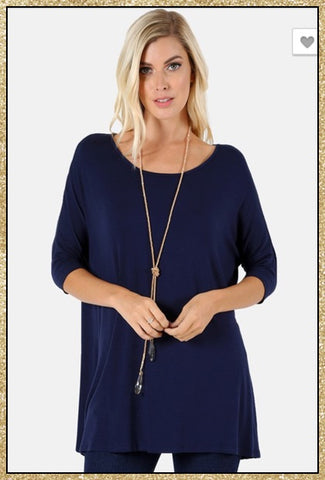 Navy blue 3/4 sleeve loose tunic top.