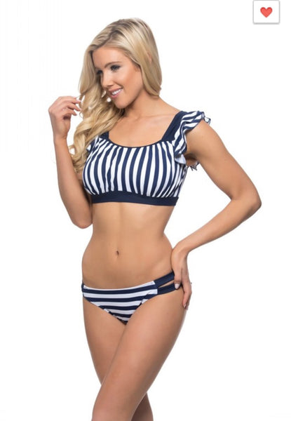 'Ahoy' Navy White Nautical Striped Bathing Suit TOP