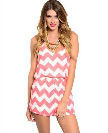 'On Vacay Time' Neon Pink Ivory Chevron Romper