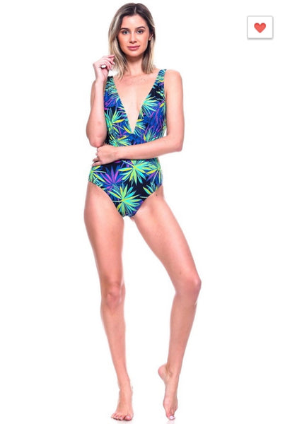 'Havana' Black Palm One Piece Bathing Suit