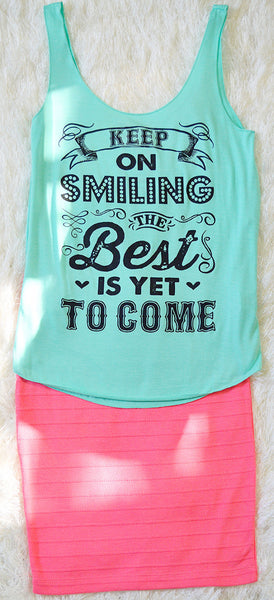 'Keep On Smiling' Mint Tank Top