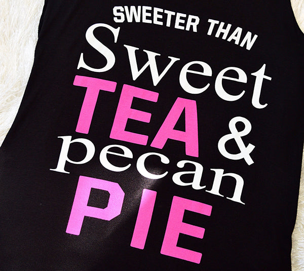 'Sweet Tea & Pecan Pie' Black Tank Top