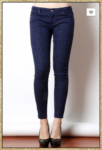 Navy blue and black leopard print straight legged pants.
