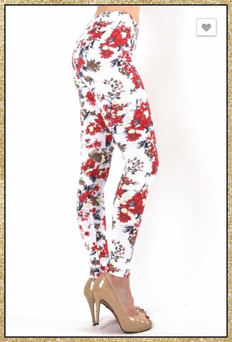 Ivory and multi-colored floral print leggings.