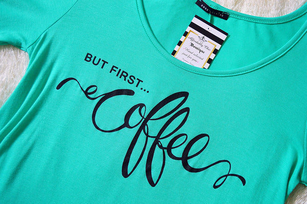 'But First Coffee' Mint Long Sleeve Top