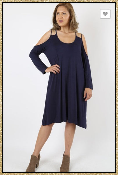Navy blue cold shoulder long sleeve curvy size tunic dress.