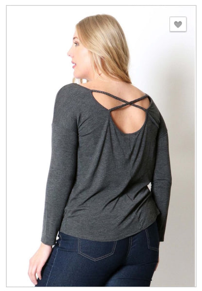 'Part Of You' Long Sleeve Charcoal Criss-Cross Top