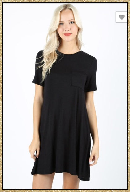Black short sleeve short t-shirt dress with front chest pocket.