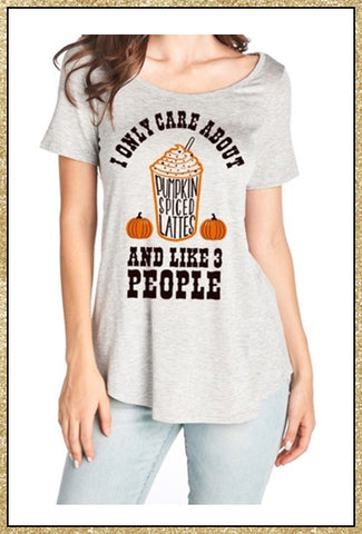 """Pumpkin spiced lattes"" quote grey short sleeve top"
