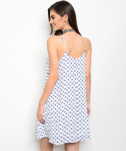 'Sail Away' Off White Navy Anchor Dress