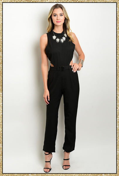 Sleeveless black jumpsuit with belted wasit and side cut outs